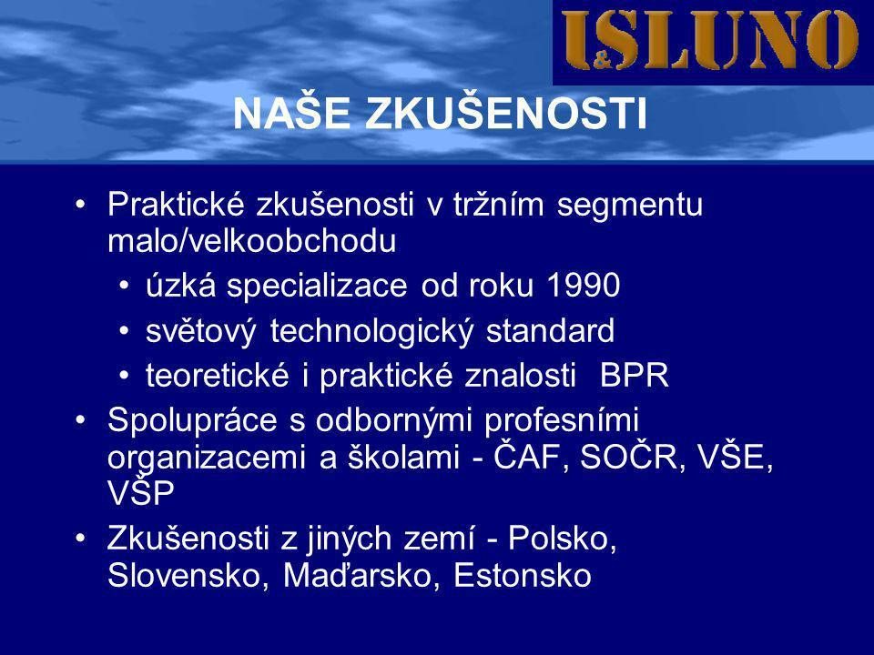 NAŠE ZKUŠENOSTI •Praktické zkušenosti v tržním segmentu malo/velkoobchodu •úzká specializace od roku 1990 •světový technologický standard •teoretické i praktické znalosti BPR •Spolupráce s odbornými profesními organizacemi a školami - ČAF, SOČR, VŠE, VŠP •Zkušenosti z jiných zemí - Polsko, Slovensko, Maďarsko, Estonsko