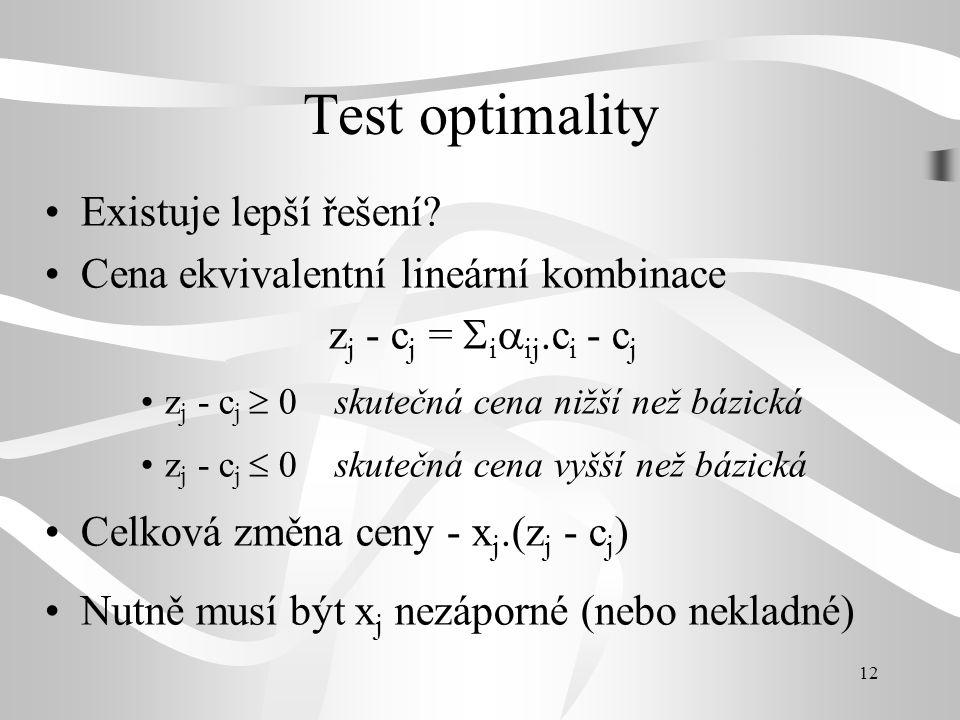 12 Test optimality •Existuje lepší řešení? •Cena ekvivalentní lineární kombinace z j - c j =  i  ij.c i - c j •z j - c j  0 skutečná cena nižší než