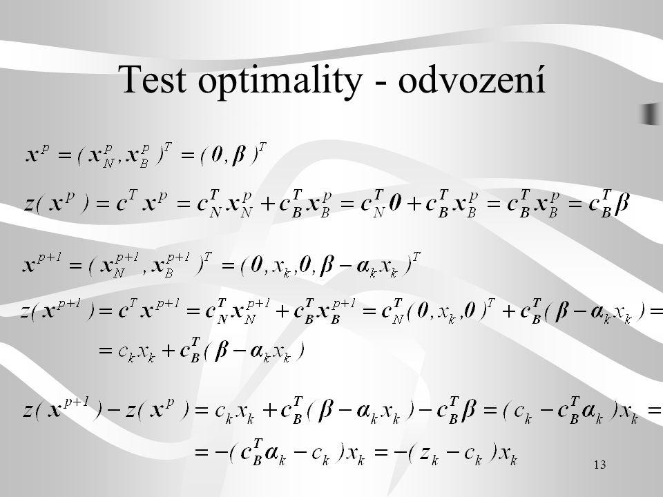 13 Test optimality - odvození