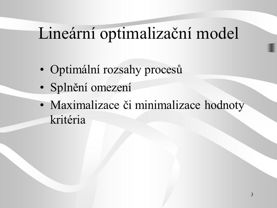 3 Lineární optimalizační model •Optimální rozsahy procesů •Splnění omezení •Maximalizace či minimalizace hodnoty kritéria