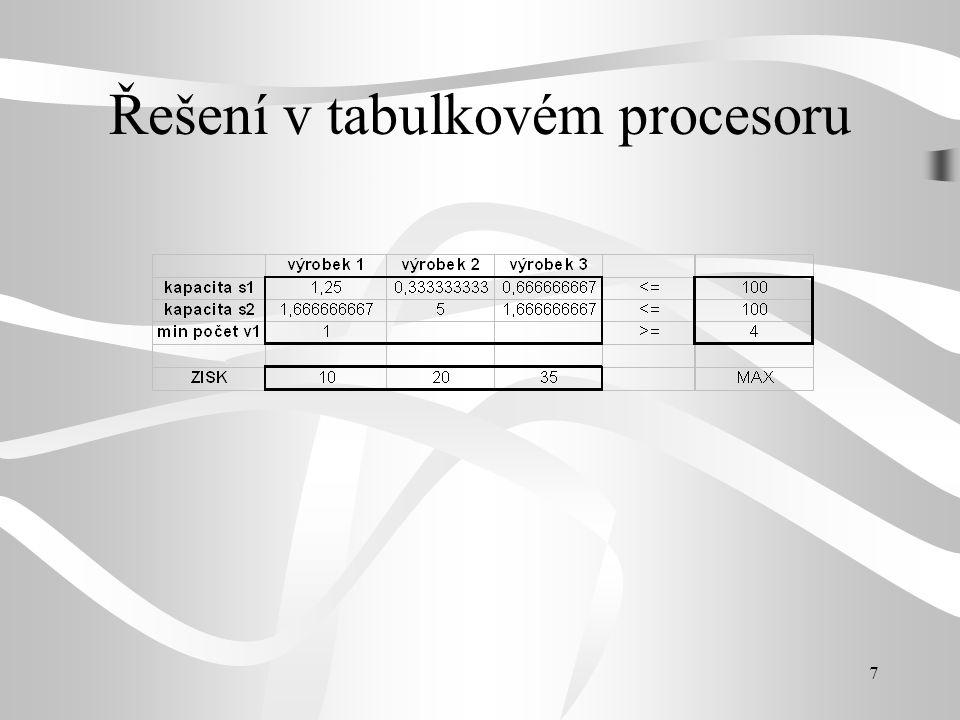 7 Řešení v tabulkovém procesoru