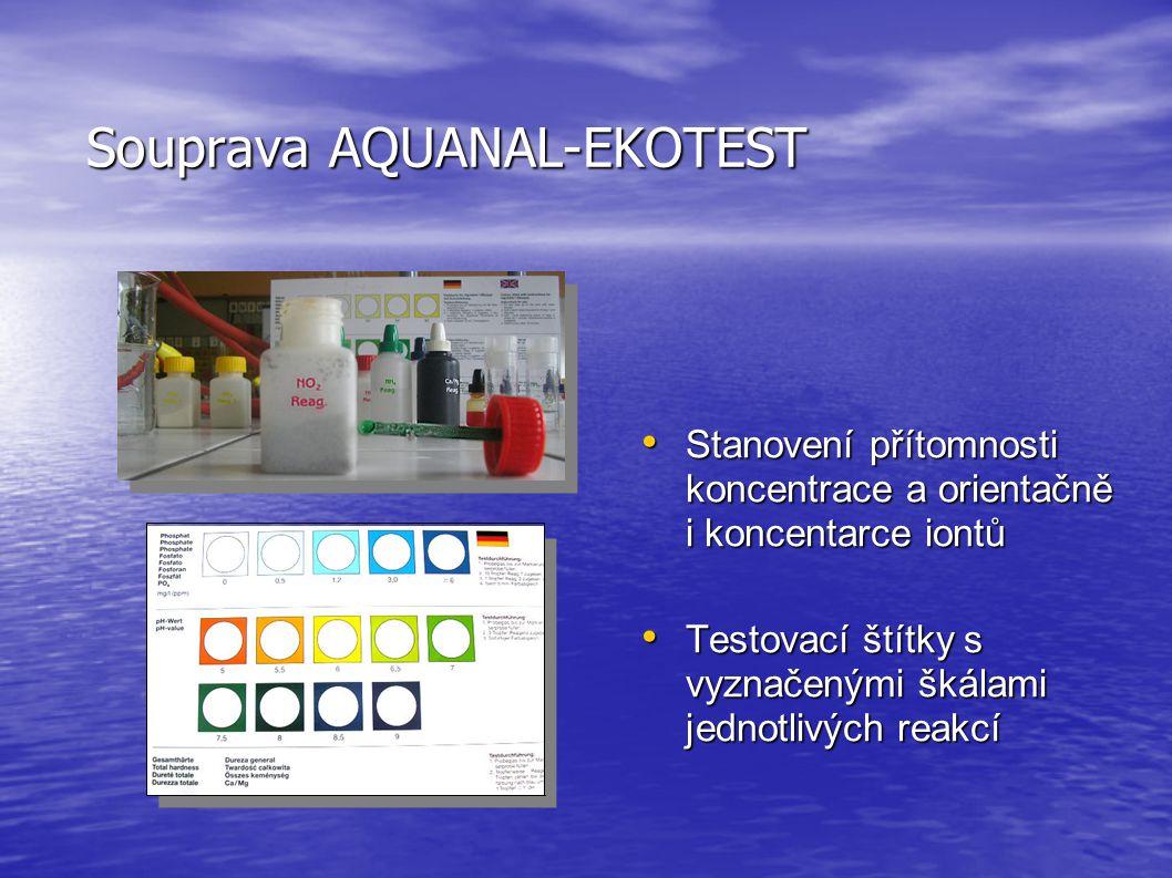 Souprava AQUANAL-EKOTEST • Stanovení přítomnosti koncentrace a orientačně i koncentarce iontů • Testovací štítky s vyznačenými škálami jednotlivých reakcí