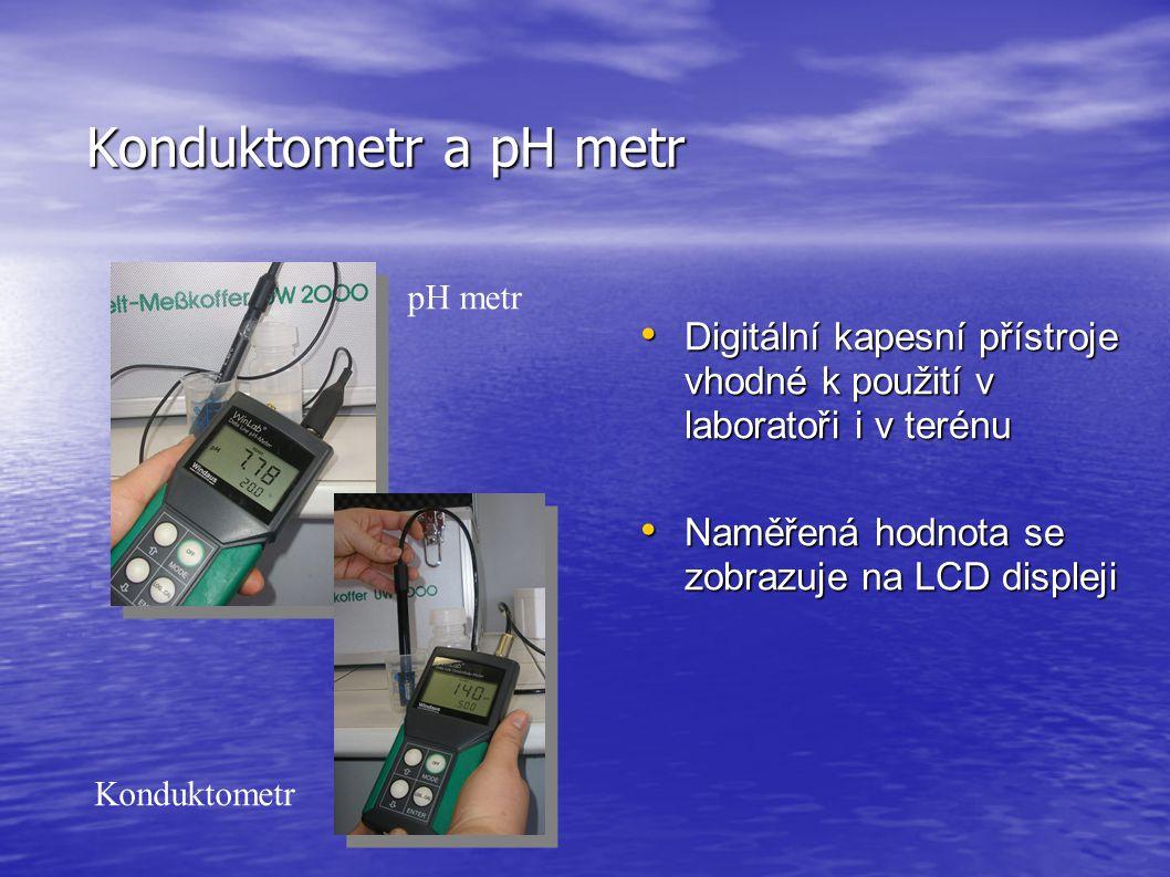 Konduktometr a pH metr • Digitální kapesní přístroje vhodné k použití v laboratoři i v terénu • Naměřená hodnota se zobrazuje na LCD displeji pH metr Konduktometr