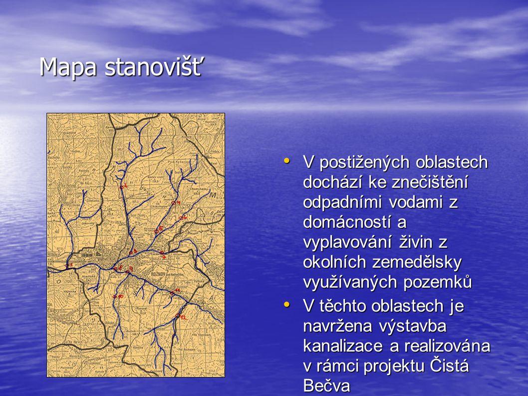 Mapa stanovišť • V postižených oblastech dochází ke znečištění odpadními vodami z domácností a vyplavování živin z okolních zemedělsky využívaných pozemků • V těchto oblastech je navržena výstavba kanalizace a realizována v rámci projektu Čistá Bečva