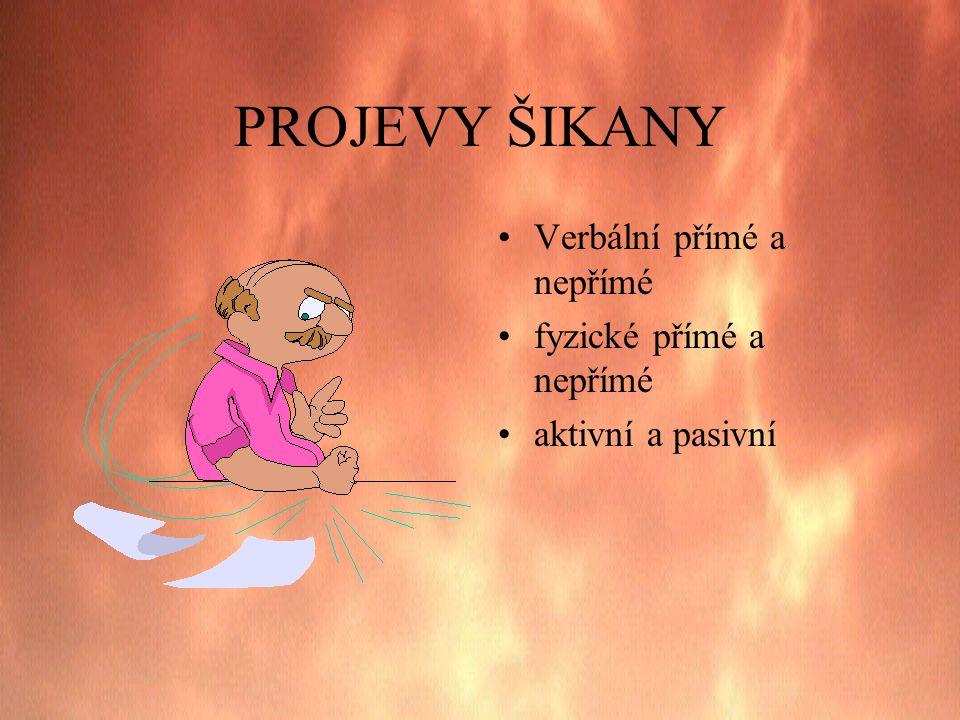 PROJEVY ŠIKANY •Verbální přímé a nepřímé •fyzické přímé a nepřímé •aktivní a pasivní