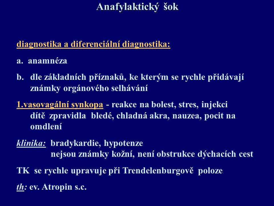 Anafylaktický šok diagnostika a diferenciální diagnostika: a. anamnéza b.dle základních příznaků, ke kterým se rychle přidávají známky orgánového selh