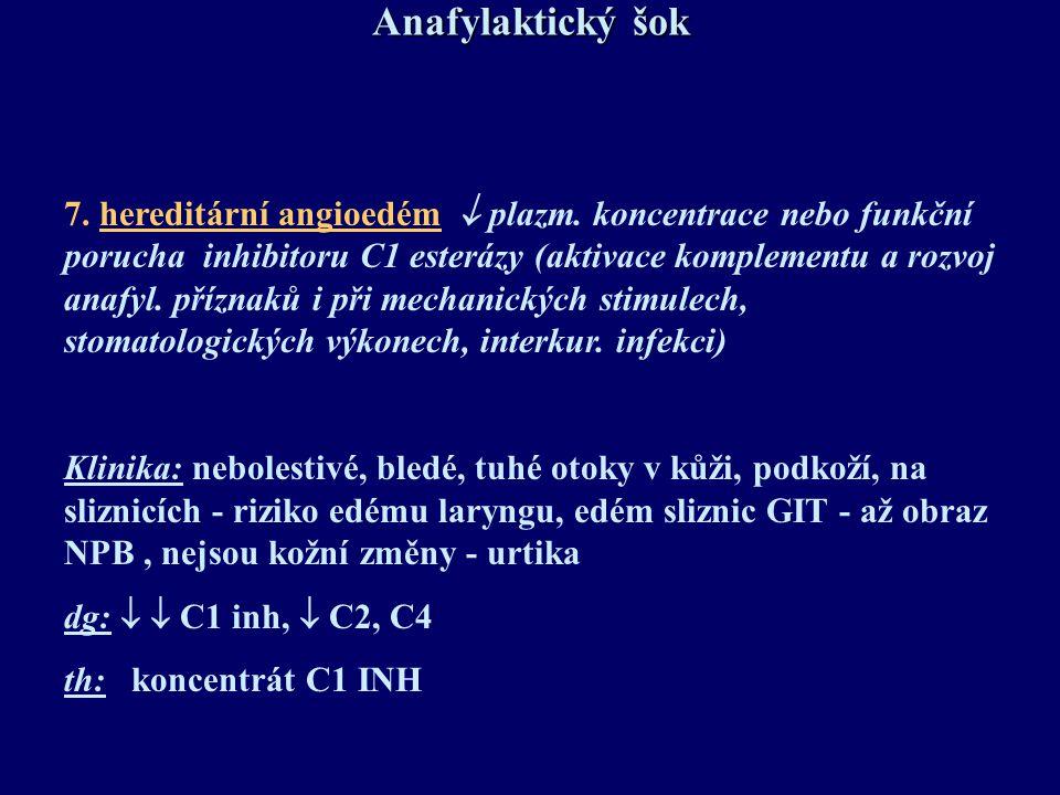 Anafylaktický šok 7. hereditární angioedém  plazm. koncentrace nebo funkční porucha inhibitoru C1 esterázy (aktivace komplementu a rozvoj anafyl. pří
