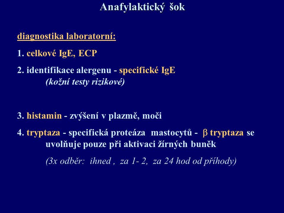 Anafylaktický šok diagnostika laboratorní: 1. celkové IgE, ECP 2. identifikace alergenu - specifické IgE (kožní testy rizikové) 3. histamin - zvýšení