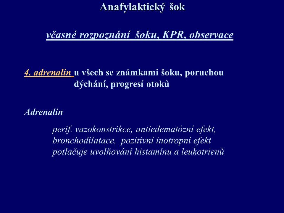 Anafylaktický šok včasné rozpoznání šoku, KPR, observace 4. adrenalin u všech se známkami šoku, poruchou dýchání, progresí otoků Adrenalin perif. vazo