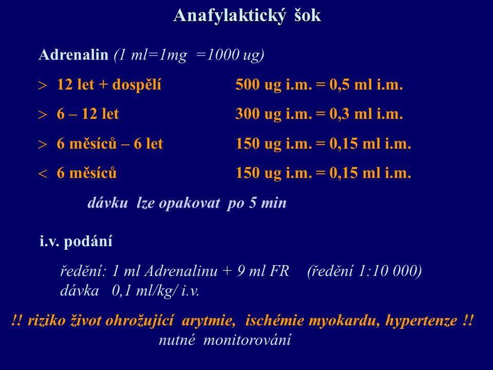 Anafylaktický šok Adrenalin (1 ml=1mg =1000 ug)  12 let + dospělí500 ug i.m. = 0,5 ml i.m.  6 – 12 let300 ug i.m. = 0,3 ml i.m.  6 měsíců – 6 let15