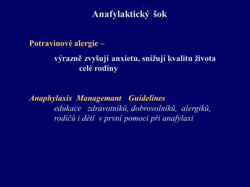 Anafylaktický šok cave: bifázický průběh až u 20% pacientů za 6 - 8 - 24 hod po inciální reakci Fatální potravinová anafylaxe srdeční zástava za 30-35 minut Hmyz – žihadlo srdeční zástava do 5-10 minut Anafylaxe po i.v.