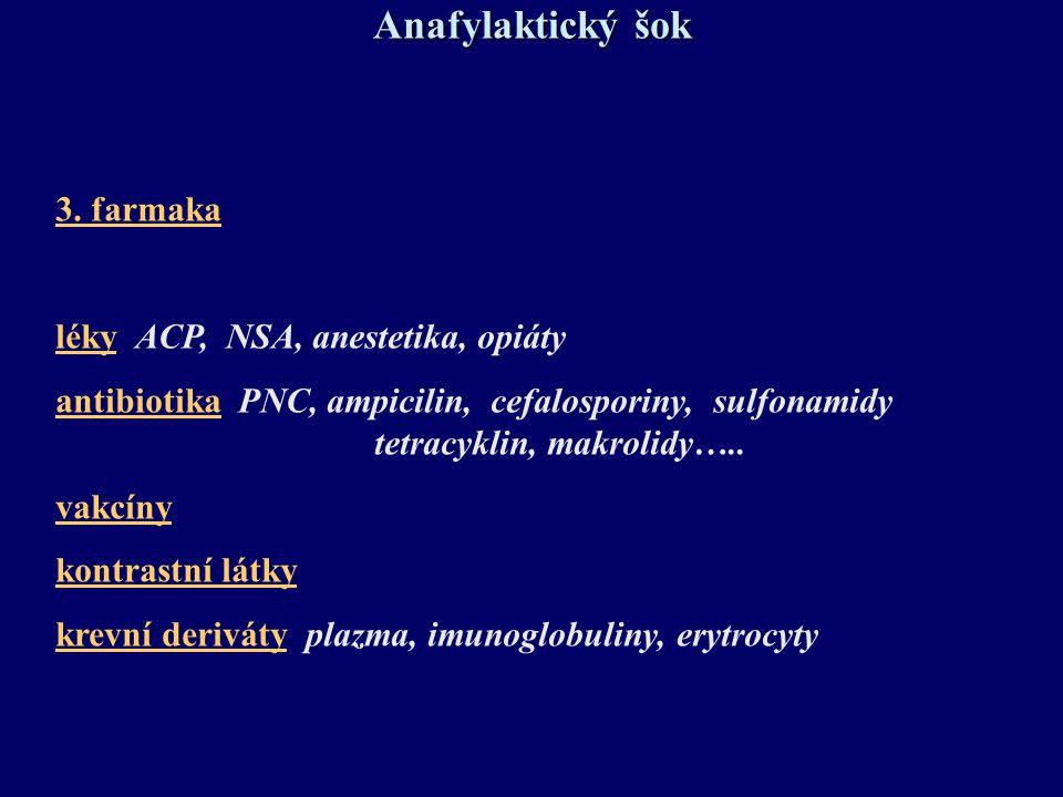 3. farmaka léky ACP, NSA, anestetika, opiáty antibiotika PNC, ampicilin, cefalosporiny, sulfonamidy tetracyklin, makrolidy….. vakcíny kontrastní látky