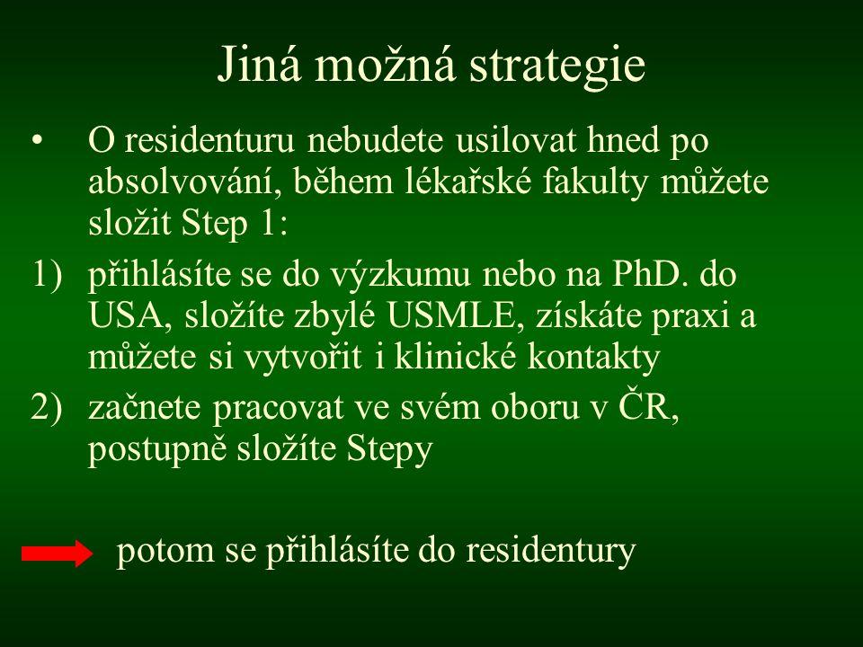 Jiná možná strategie •O residenturu nebudete usilovat hned po absolvování, během lékařské fakulty můžete složit Step 1: 1)přihlásíte se do výzkumu nebo na PhD.