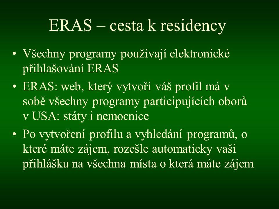 ERAS – cesta k residency •Všechny programy používají elektronické přihlašování ERAS •ERAS: web, který vytvoří váš profil má v sobě všechny programy participujících oborů v USA: státy i nemocnice •Po vytvoření profilu a vyhledání programů, o které máte zájem, rozešle automaticky vaši přihlášku na všechna místa o která máte zájem
