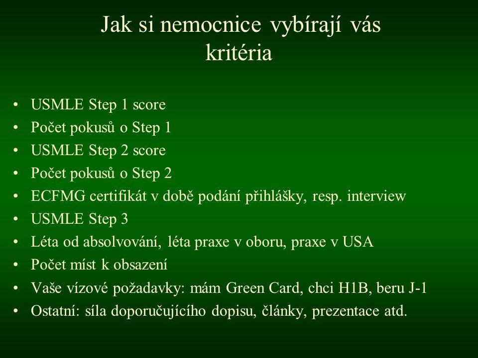 •USMLE Step 1 score •Počet pokusů o Step 1 •USMLE Step 2 score •Počet pokusů o Step 2 •ECFMG certifikát v době podání přihlášky, resp.
