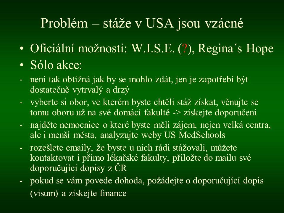 Problém – stáže v USA jsou vzácné •Oficiální možnosti: W.I.S.E.