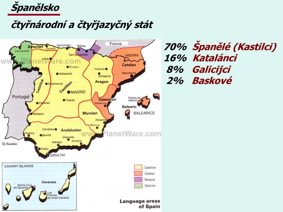70% Španělé (Kastilci) 16% Katalánci 8% Galicijci 2% Baskové Španělsko čtyřnárodní a čtyřjazyčný stát