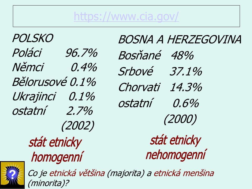 https://www.cia.gov/ BOSNA A HERZEGOVINA Bosňané 48% Srbové 37.1% Chorvati 14.3% ostatní 0.6% (2000) POLSKO Poláci 96.7% Němci 0.4% Bělorusové 0.1% Ukrajinci 0.1% ostatní 2.7% (2002) Co je etnická většina (majorita) a etnická menšina (minorita)?