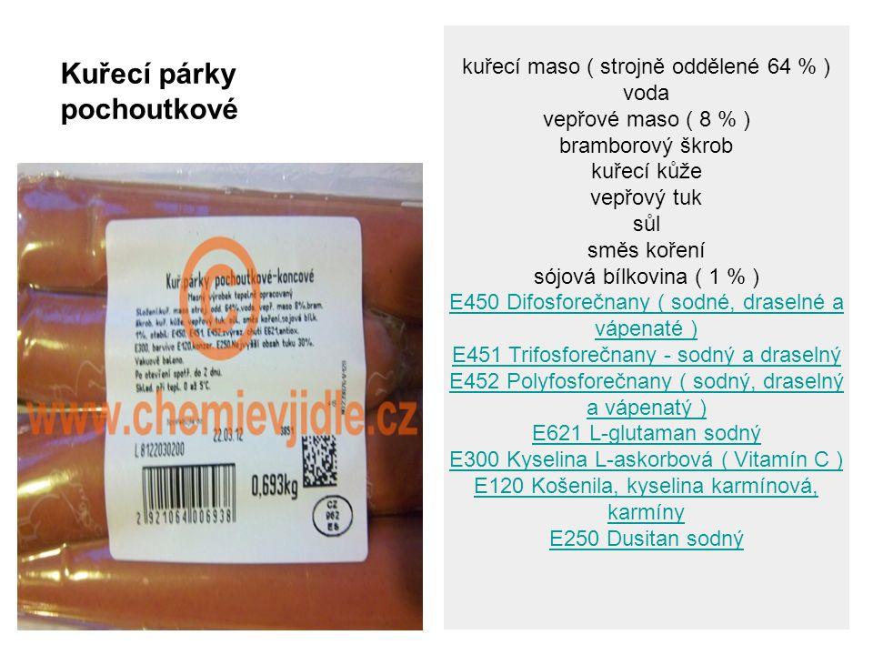 kuřecí maso ( strojně oddělené 64 % ) voda vepřové maso ( 8 % ) bramborový škrob kuřecí kůže vepřový tuk sůl směs koření sójová bílkovina ( 1 % ) E450