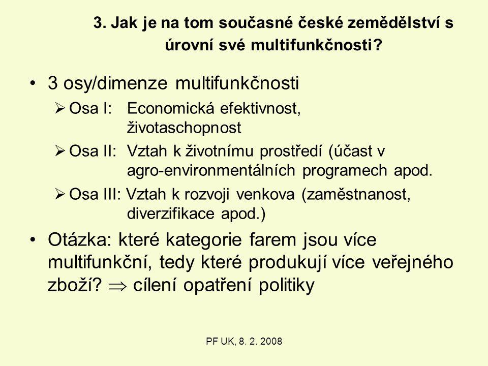 3. Jak je na tom současné české zemědělství s úrovní své multifunkčnosti.