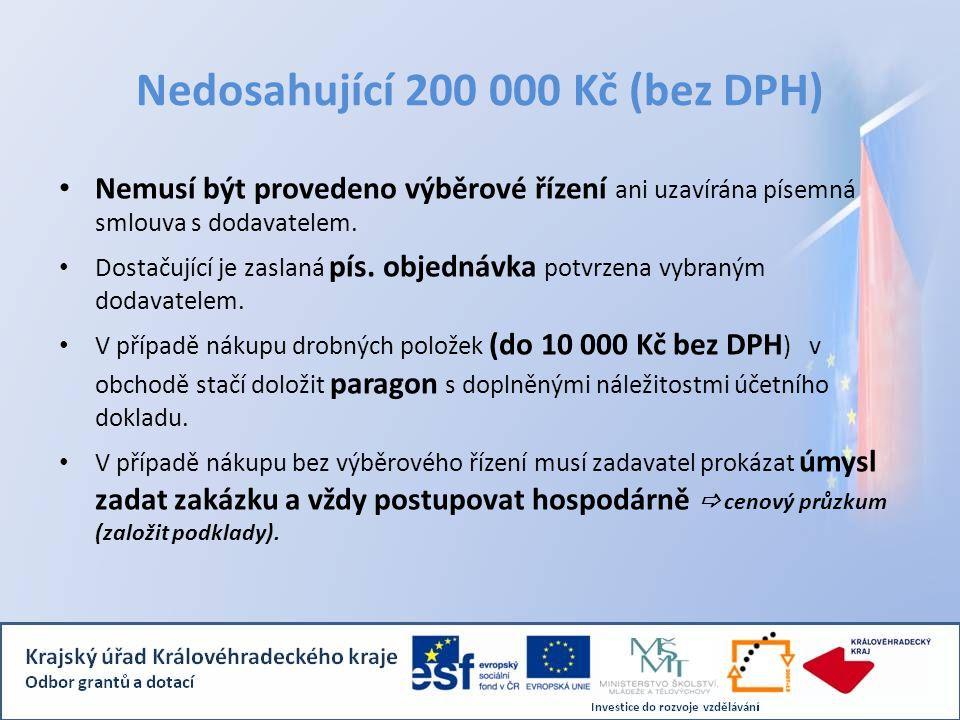 Nedosahující 200 000 Kč (bez DPH) • Nemusí být provedeno výběrové řízení ani uzavírána písemná smlouva s dodavatelem.