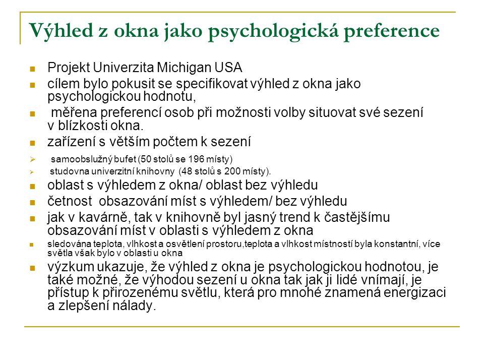 Výhled z okna jako psychologická preference  Projekt Univerzita Michigan USA  cílem bylo pokusit se specifikovat výhled z okna jako psychologickou hodnotu,  měřena preferencí osob při možnosti volby situovat své sezení v blízkosti okna.