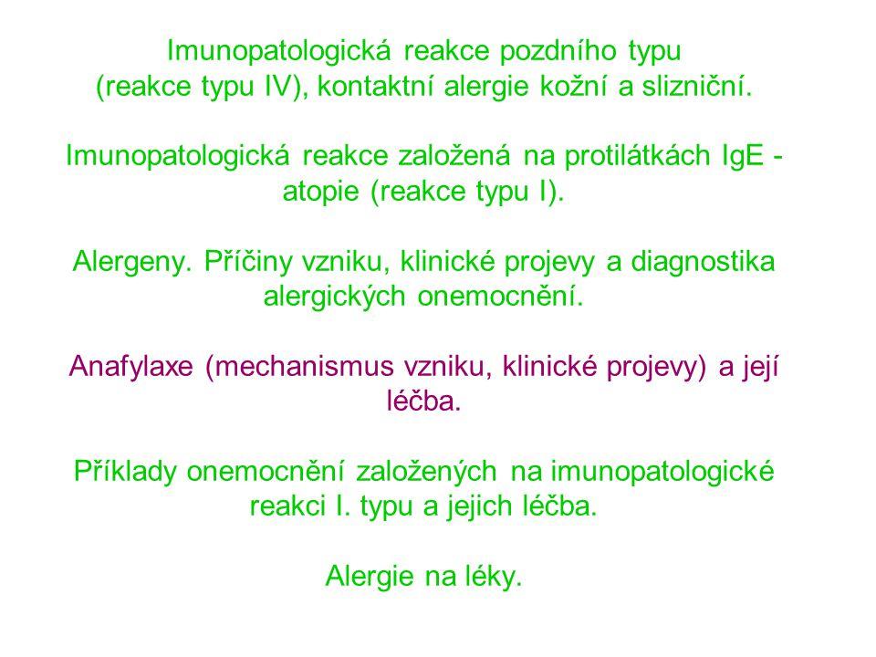 Imunopatologická reakce pozdního typu (reakce typu IV), kontaktní alergie kožní a slizniční.