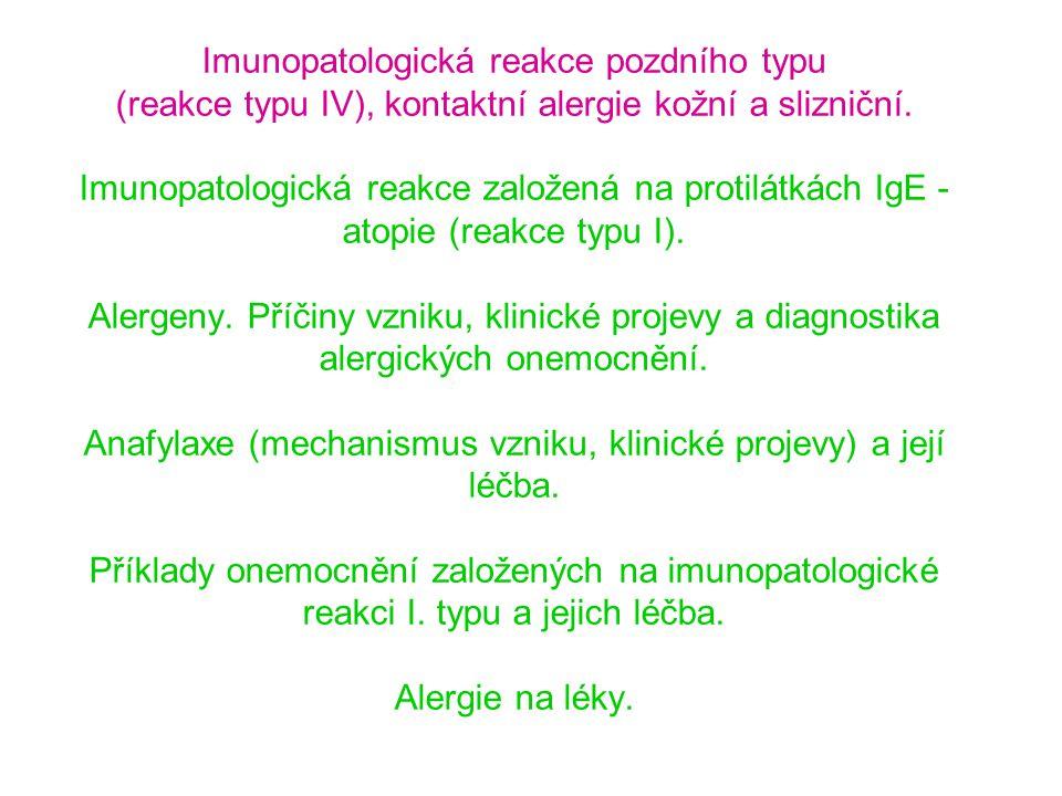 Alergická reakce IL-4 IL-5 Eozinofil IgE B T T Th2 APC Alergen T Th1 IFN-  B IgG IL-12  IL-12  Odpověď Th1/Th2