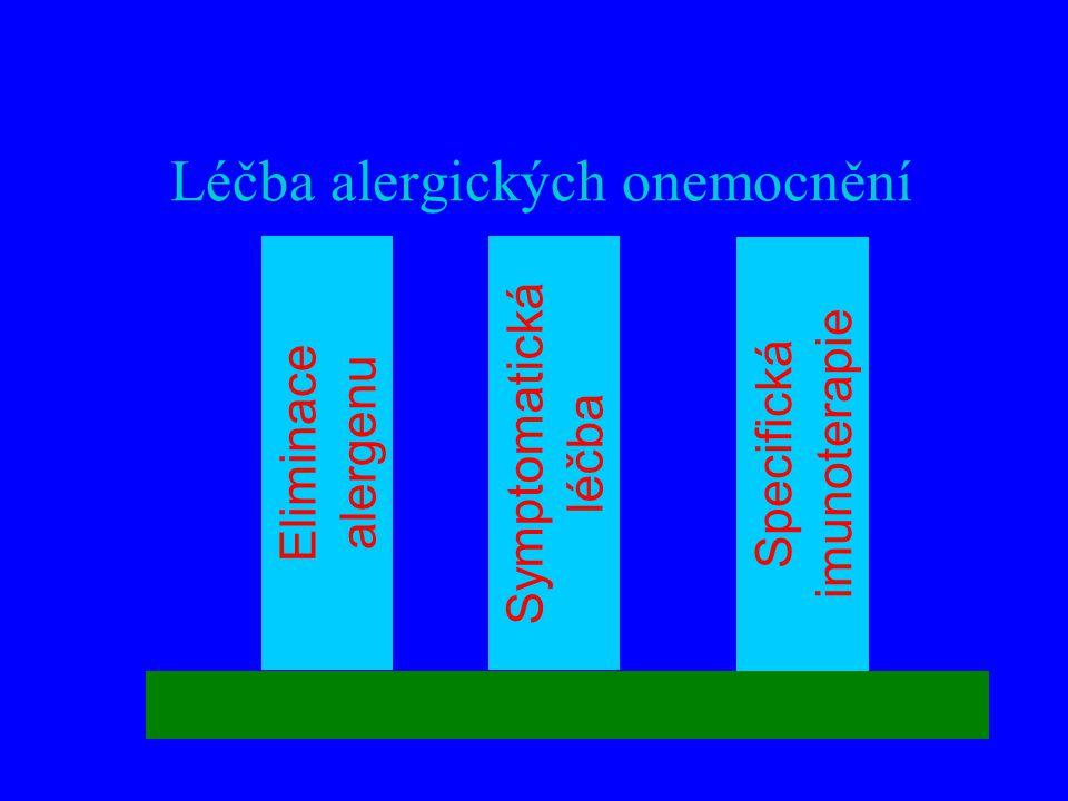 Léčba alergických onemocnění Eliminace alergenu Symptomatická léčba Specifická imunoterapie