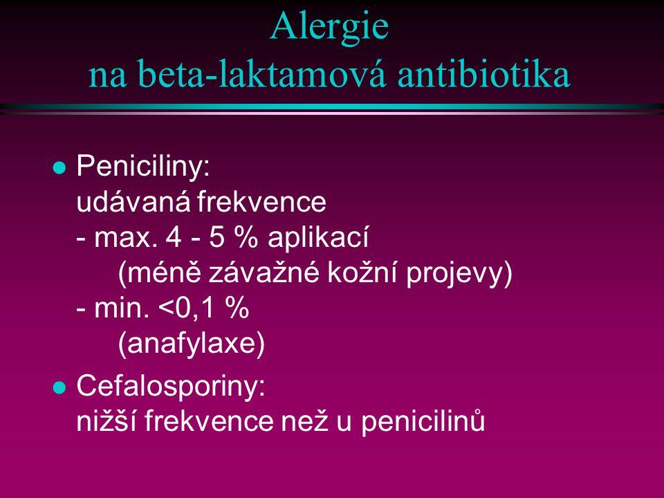 Alergie na beta-laktamová antibiotika l Peniciliny: udávaná frekvence - max.