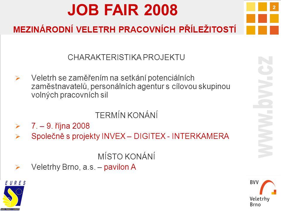3 CÍLE PROJEKTU Kvalitativní cíl  Veletrh pracovních příležitostí  nejkvalitnější setkání na odborné úrovni v ČR Předpoklady v počtu vystavovatelů a návštěvníků  Počet vystavovatelů/firem 100  Počet návštěvníků 15 000 + 60-80 tis.