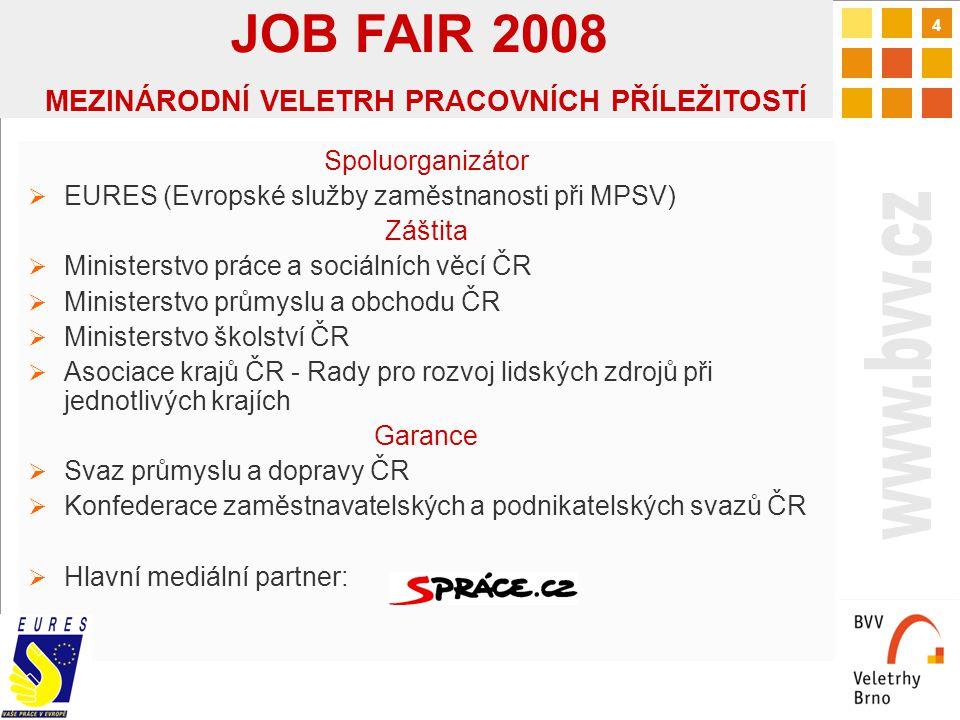 5 Historie tématu ve veletržních projektech  Téma Job Fair v různých podobách i rozsahu na několika veletržních projektech (Invex – 6 ročníků, Autosalon, MSV, Stavební veletrhy, atd.)  Zaměřeno na personální politiku konkrétních projektů a oborů  Doplňkové téma Budoucnost JOB FAIR 2008  Multioborové setkání potenciálních zaměstnavatelů s cílovou skupinou  S podporou silného partnera, kvalitním doprovodným programem, se zaměřením na přímou komunikaci s cílovou skupinou návštěvníků JOB FAIR 2008 MEZINÁRODNÍ VELETRH PRACOVNÍCH PŘÍLEŽITOSTÍ