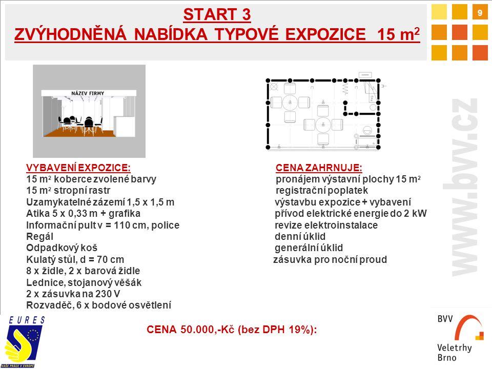 9 START 3 ZVÝHODNĚNÁ NABÍDKA TYPOVÉ EXPOZICE 15 m 2 VYBAVENÍ EXPOZICE: CENA ZAHRNUJE: 15 m 2 koberce zvolené barvy pronájem výstavní plochy 15 m 2 15 m 2 stropní rastr registrační poplatek Uzamykatelné zázemí 1,5 x 1,5 m výstavbu expozice + vybavení Atika 5 x 0,33 m + grafika přívod elektrické energie do 2 kW Informační pult v = 110 cm, police revize elektroinstalace Regál denní úklid Odpadkový koš generální úklid Kulatý stůl, d = 70 cm zásuvka pro noční proud 8 x židle, 2 x barová židle Lednice, stojanový věšák 2 x zásuvka na 230 V Rozvaděč, 6 x bodové osvětlení CENA 50.000,-Kč (bez DPH 19%):