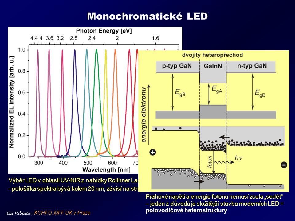 Jan Valenta – KCHFO, MFF UK v Praze Monochromatické LED Výběr LED v oblasti UV-NIR z nabídky Roithner Lasertechnik, Vídeň - pološířka spektra bývá kol