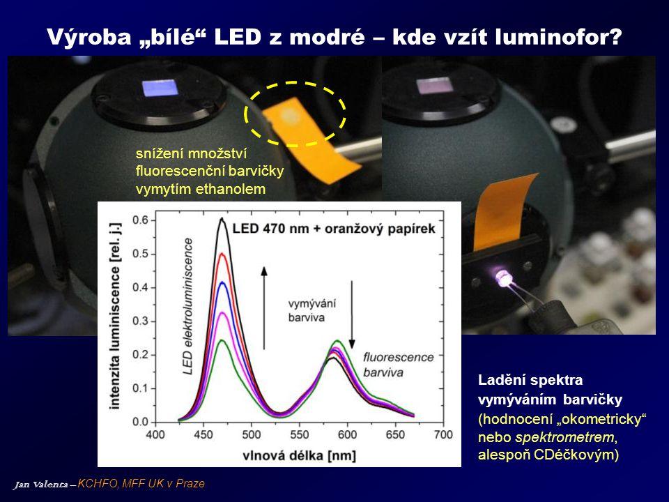 """Jan Valenta – KCHFO, MFF UK v Praze Výroba """"bílé"""" LED z modré – kde vzít luminofor? Ladění spektra vymýváním barvičky (hodnocení """"okometricky"""" nebo sp"""