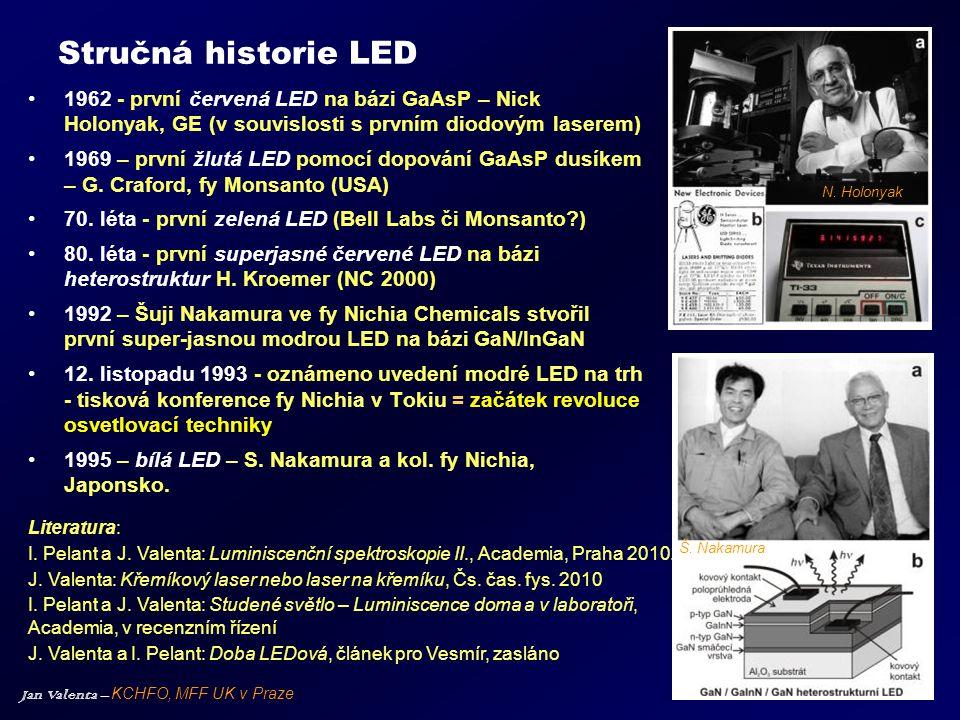 Jan Valenta – KCHFO, MFF UK v Praze Stručná historie LED •1962 - první červená LED na bázi GaAsP – Nick Holonyak, GE (v souvislosti s prvním diodovým