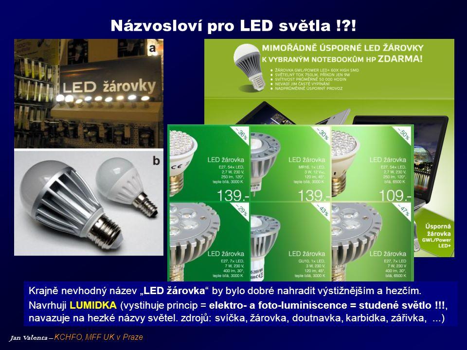 """Jan Valenta – KCHFO, MFF UK v Praze Názvosloví pro LED světla !?! Krajně nevhodný název """"LED žárovka"""" by bylo dobré nahradit výstižnějším a hezčím. Na"""