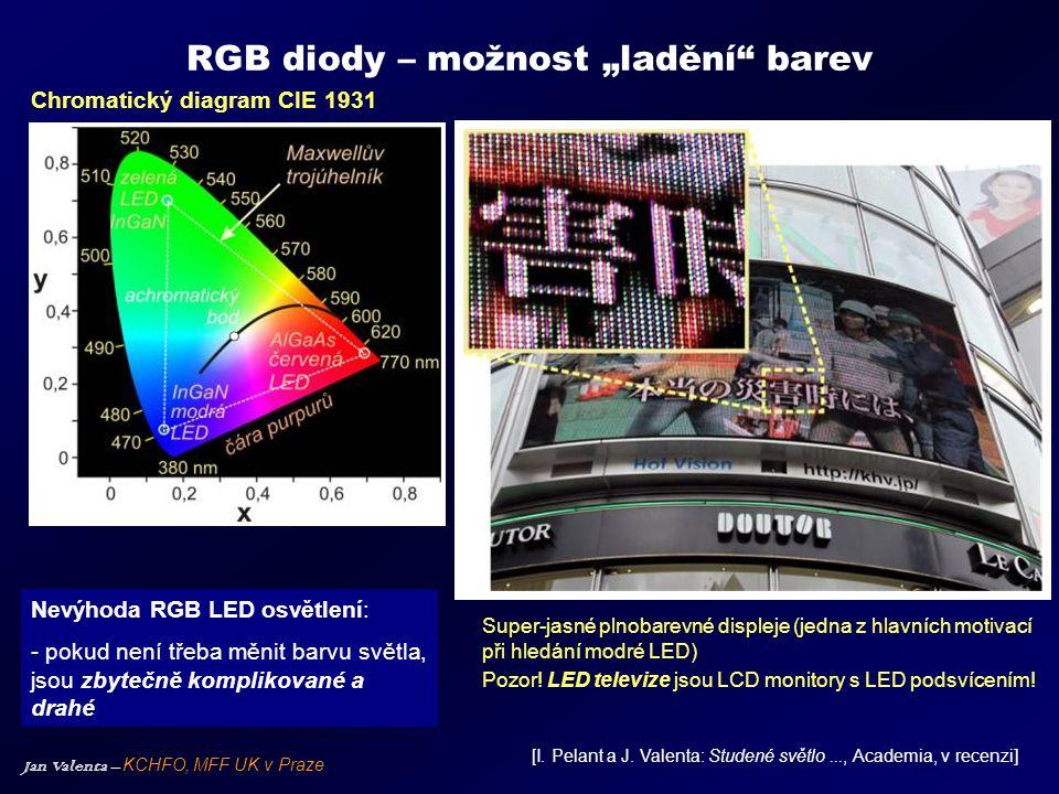 """Jan Valenta – KCHFO, MFF UK v Praze RGB diody – možnost """"ladění"""" barev Super-jasné plnobarevné displeje (jedna z hlavních motivací při hledání modré L"""