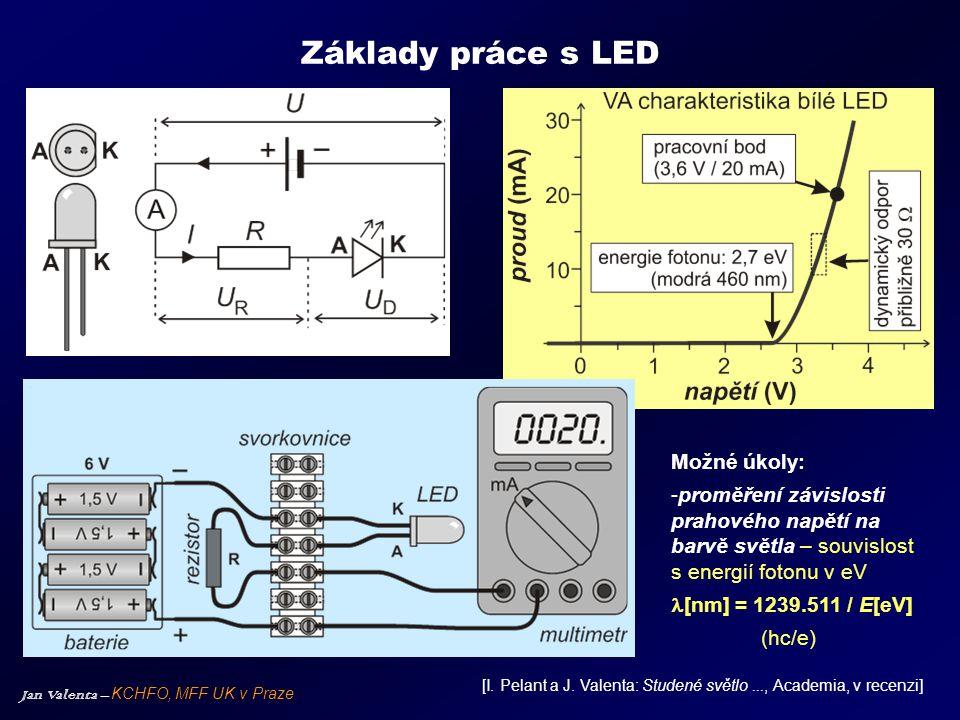 """Jan Valenta – KCHFO, MFF UK v Praze Monochromatické LED Výběr LED v oblasti UV-NIR z nabídky Roithner Lasertechnik, Vídeň - pološířka spektra bývá kolem 20 nm, závisí na struktuřě LED Prahové napětí a energie fotonu nemusí zcela """"sedět – jeden z důvodů je složitější stavba moderních LED = polovodičové heterostruktury"""