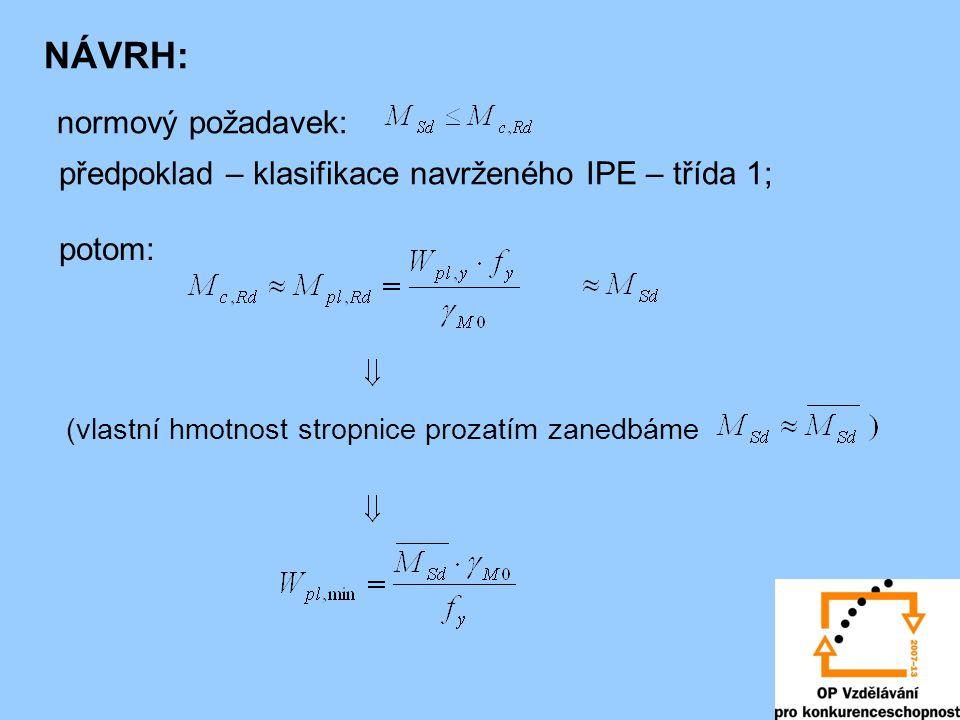 NÁVRH: normový požadavek: předpoklad – klasifikace navrženého IPE – třída 1; potom: (vlastní hmotnost stropnice prozatím zanedbáme