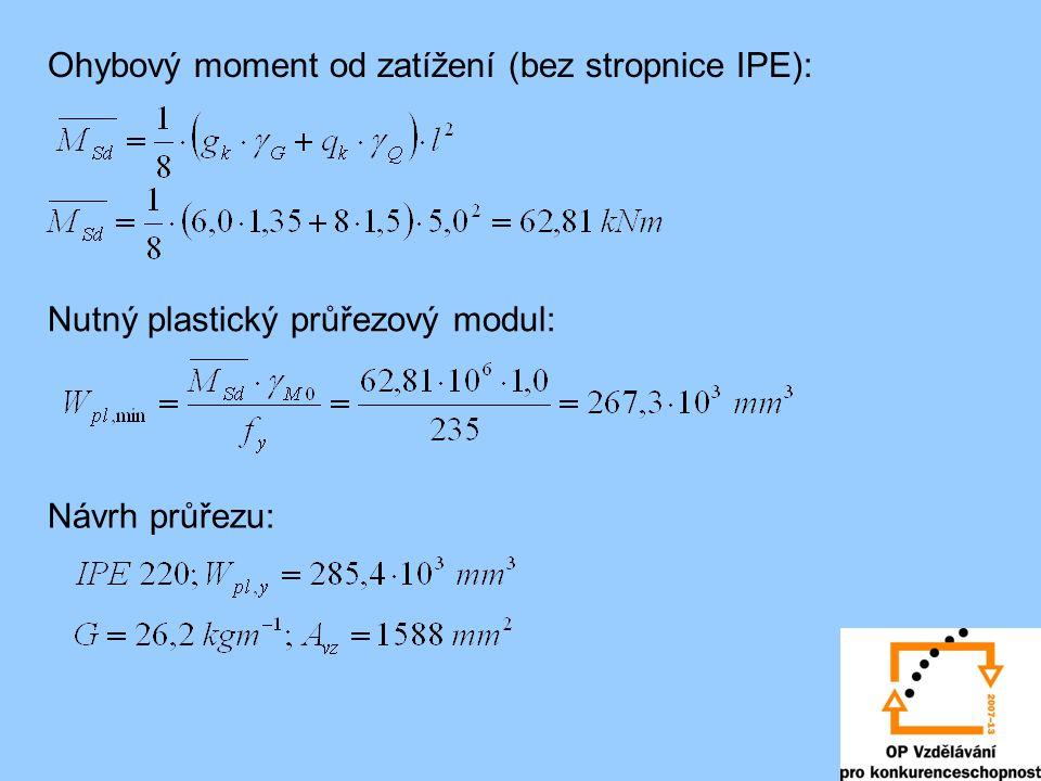 Ohybový moment od zatížení (bez stropnice IPE): Nutný plastický průřezový modul: Návrh průřezu: