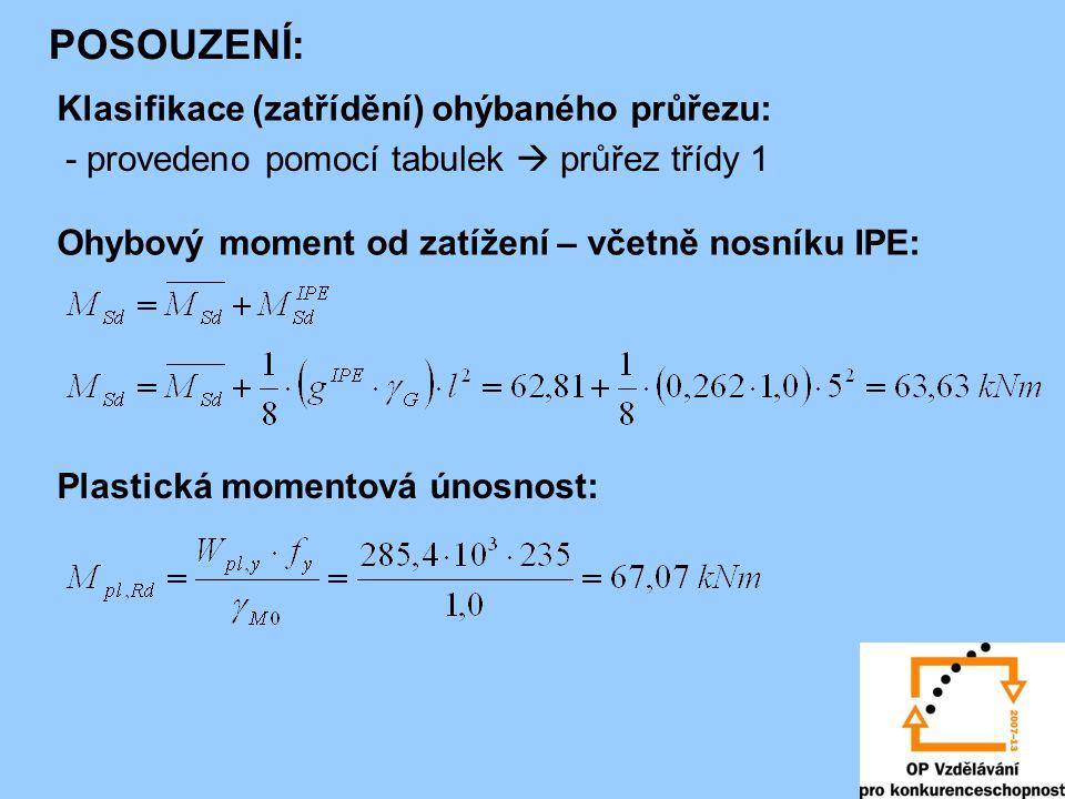 POSOUZENÍ: Klasifikace (zatřídění) ohýbaného průřezu: - provedeno pomocí tabulek  průřez třídy 1 Ohybový moment od zatížení – včetně nosníku IPE: Pla