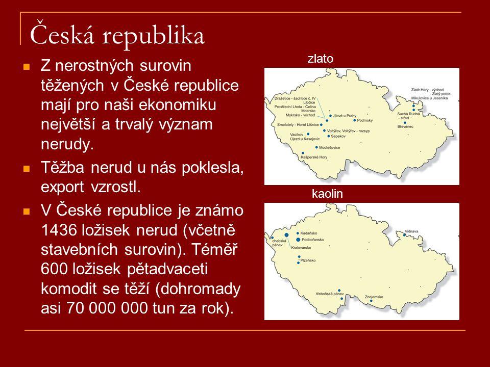 Česká republika  Z nerostných surovin těžených v České republice mají pro naši ekonomiku největší a trvalý význam nerudy.  Těžba nerud u nás poklesl