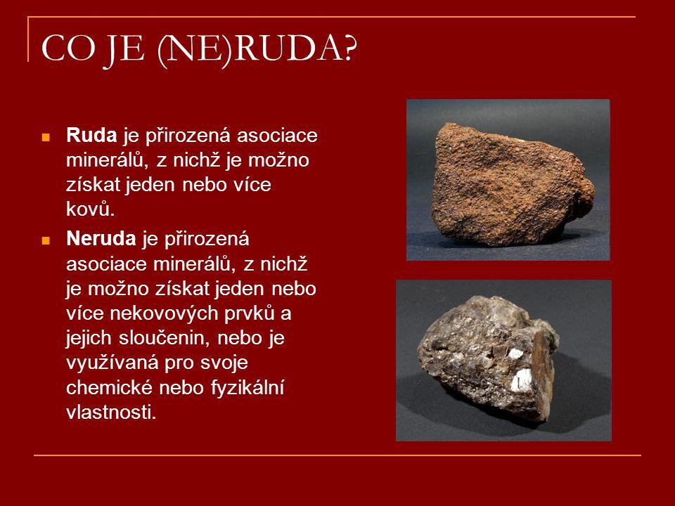 CO JE (NE)RUDA?  Ruda je přirozená asociace minerálů, z nichž je možno získat jeden nebo více kovů.  Neruda je přirozená asociace minerálů, z nichž
