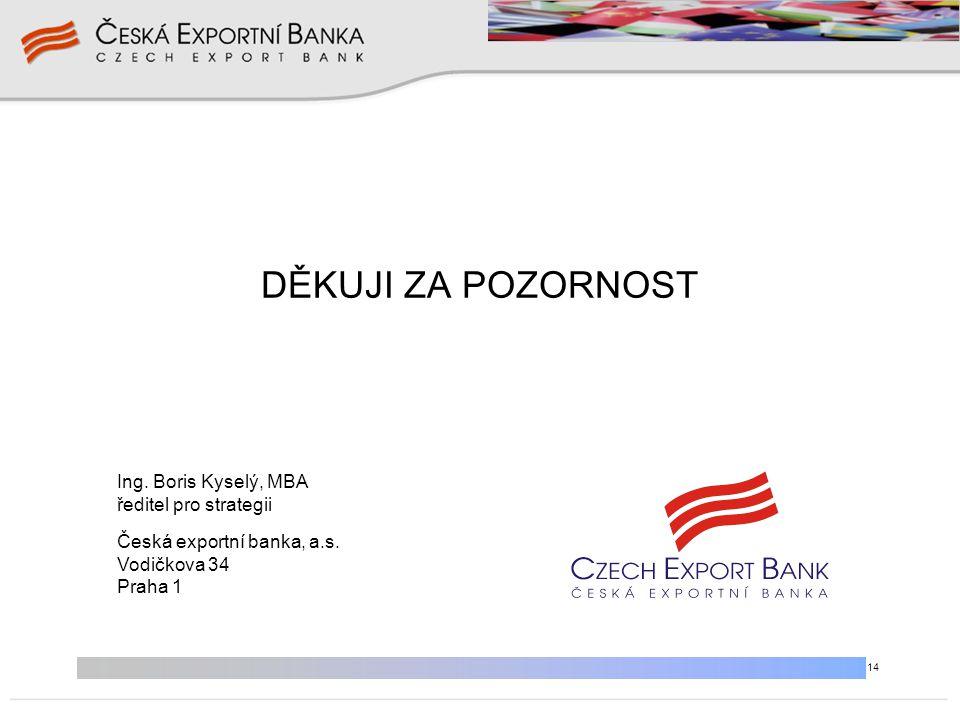 14 DĚKUJI ZA POZORNOST Ing. Boris Kyselý, MBA ředitel pro strategii Česká exportní banka, a.s. Vodičkova 34 Praha 1