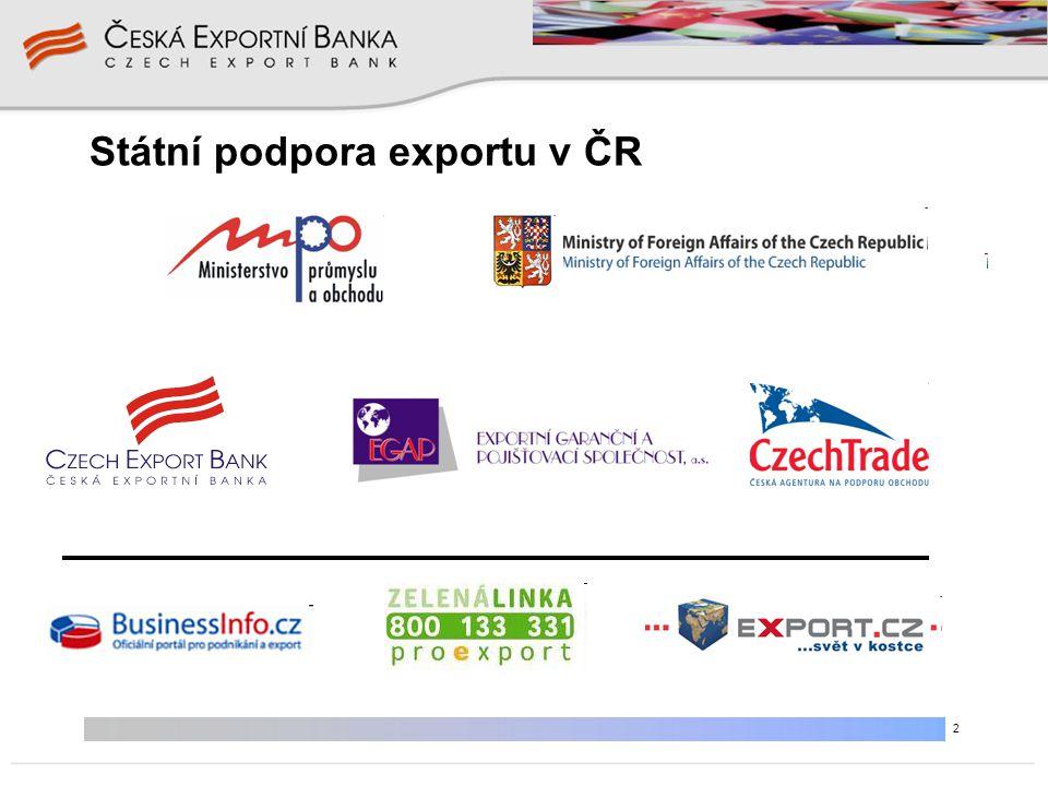 """3 Mezinárodní pravidla financování vývozu """"Arrangement on Officially Supported Export Credits Gentlemanská dohoda právně nevymahatelná (jen politicky) • odstraňuje konkurenci ve státní podpoře financování vývozu • sjednocuje podmínky pro realizaci státní podpory vývozu - pojišťování/garantování vývozních úvěrových rizik - financování vývozu - úrokové dotace """"Konsensus OECD"""