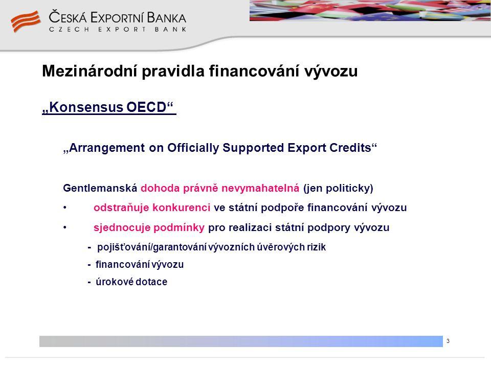 """3 Mezinárodní pravidla financování vývozu """"Arrangement on Officially Supported Export Credits"""" Gentlemanská dohoda právně nevymahatelná (jen politicky"""