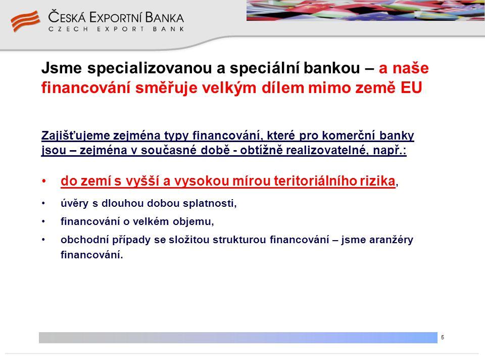 5 Jsme specializovanou a speciální bankou – a naše financování směřuje velkým dílem mimo země EU •do zemí s vyšší a vysokou mírou teritoriálního rizik
