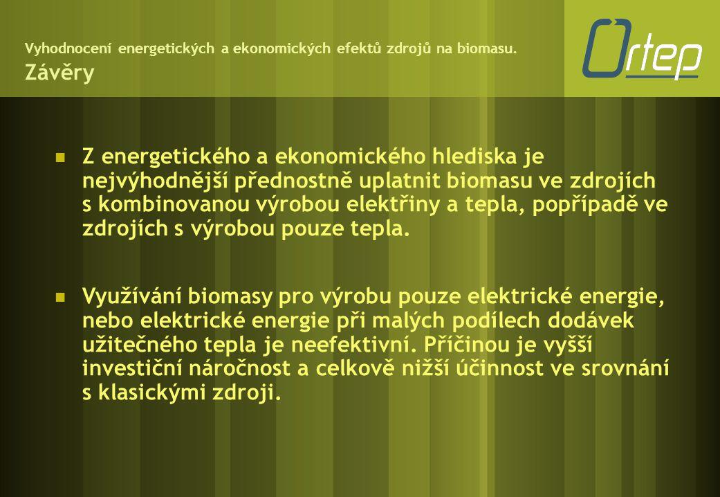 Vyhodnocení energetických a ekonomických efektů zdrojů na biomasu. Závěry  Z energetického a ekonomického hlediska je nejvýhodnější přednostně uplatn