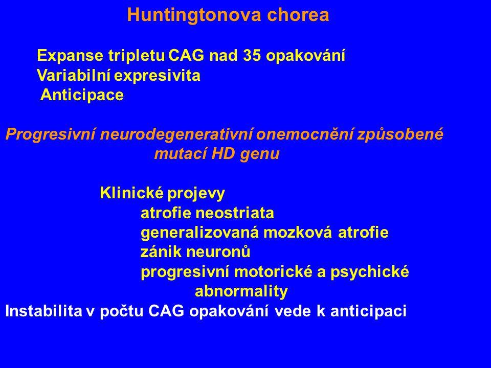 Huntingtonova chorea Expanse tripletu CAG nad 35 opakování Variabilní expresivita Anticipace Progresivní neurodegenerativní onemocnění způsobené mutací HD genu Klinické projevy atrofie neostriata generalizovaná mozková atrofie zánik neuronů progresivní motorické a psychické abnormality Instabilita v počtu CAG opakování vede k anticipaci